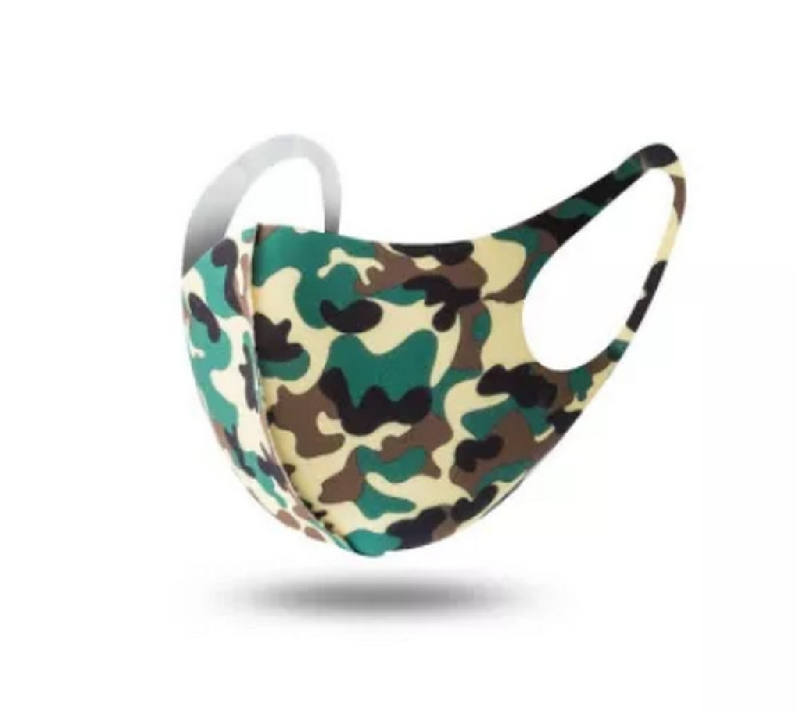 Camouflage Green Face Mask Washable Unisex Adult Poly-Cotton